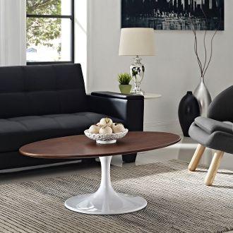 "Saarinen Style Oval Walnut Veneer Coffee Table-42"""