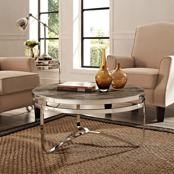 Barney Round Wood Top Coffee Table-Brown