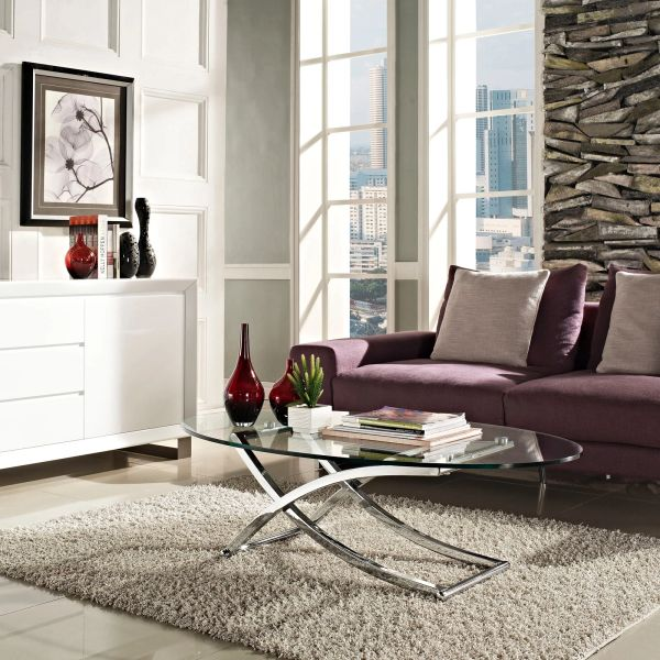 Rachel Oval Glass Coffee Table-Silver Base