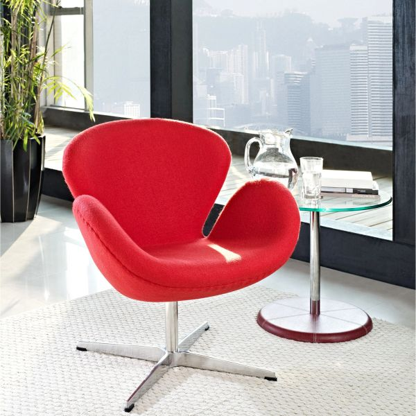Arne Jacobsen Style Swan Chair - Red Fabric