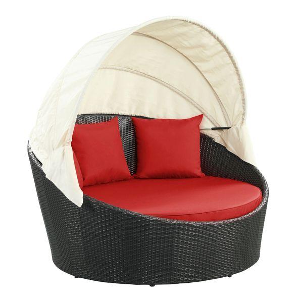 Malibu Siesta Canopy Outdoor Patio Daybed-Espresso Red