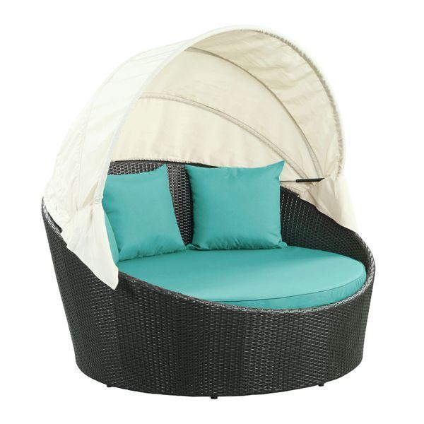 Malibu Siesta Canopy Outdoor Patio Daybed-EspressoTurquoise