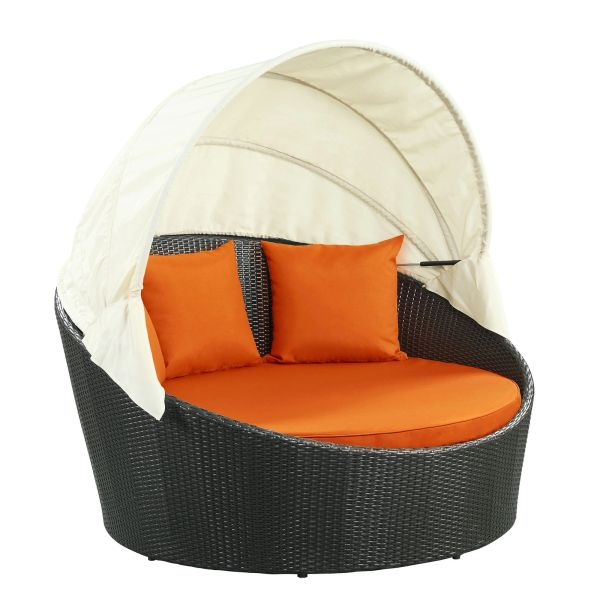 Malibu Siesta Canopy Outdoor Patio Daybed-Espresso Orange