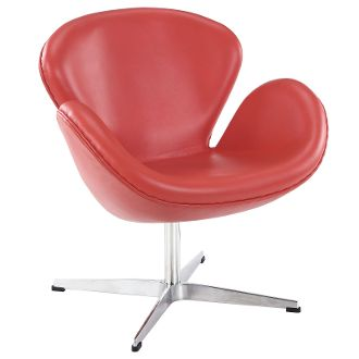 Arne Jacobsen Style Swan Chair - Red Leather