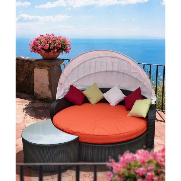 Malibu Canopy Outdoor Patio Daybed-Espresso Orange