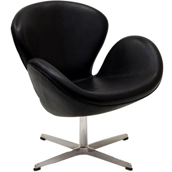 Arne Jacobsen Style Swan Chair - Jeannie - Black Leather
