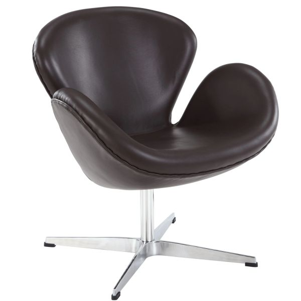 Arne Jacobsen Style Swan Chair - Jeannie - Brown Leather