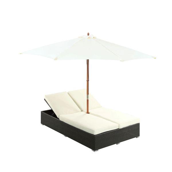 Magnum Umbrella Patio Dual Chaise, Espresso White