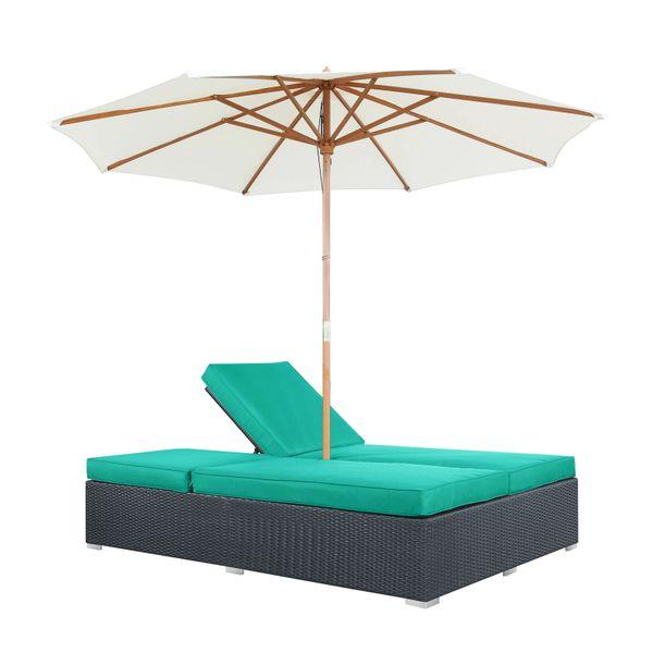 Magnum Umbrella Patio Dual Chais - Espresso Turquoise