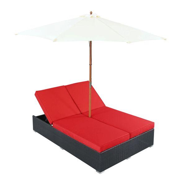 Magnum Umbrella Patio Dual Chaise - Espresso Red