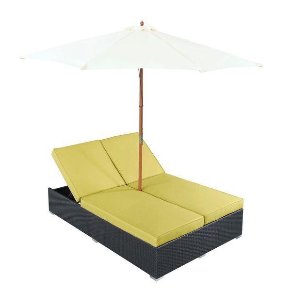 Magnum Umbrella Patio Dual Chaise - Espresso Peridot