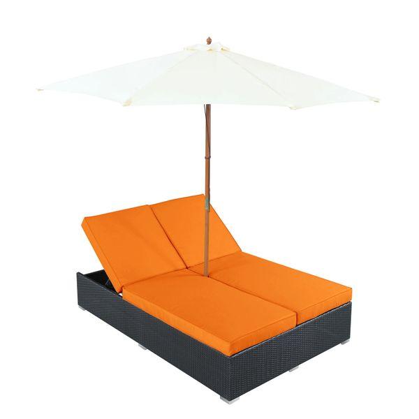 Magnum Umbrella Patio Dual Chaise-Espresso Orange