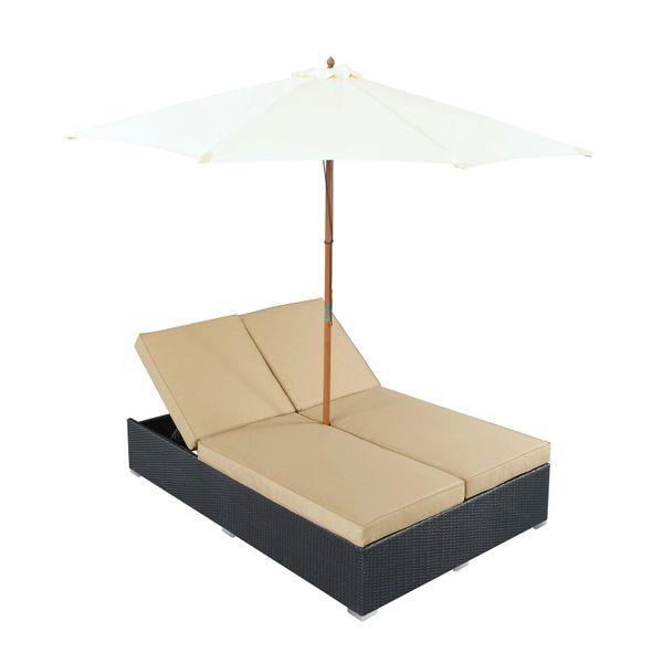 Magnum Umbrella Patio Dual Chaise, Espresso Mocha