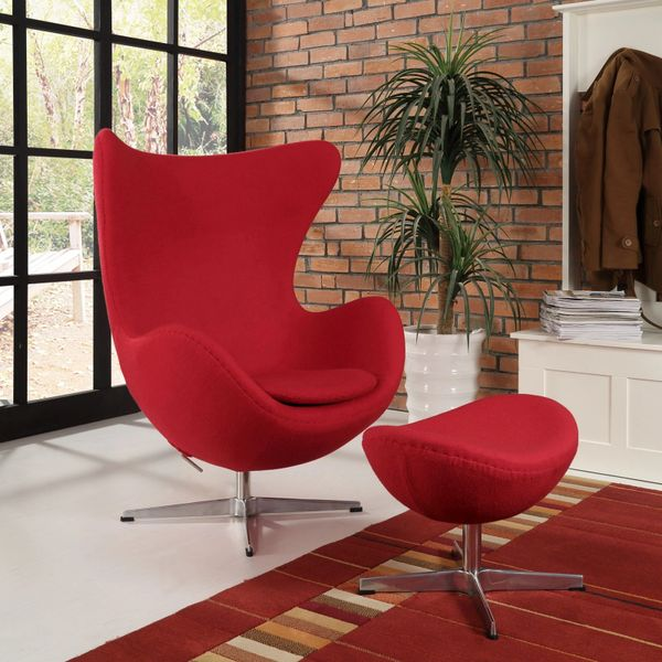 Arne Jacobsen Style Egg Chair w/ Ottoman - Red