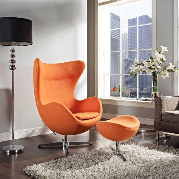 Arne Jacobsen Style Egg Chair w/ Ottoman - Orange