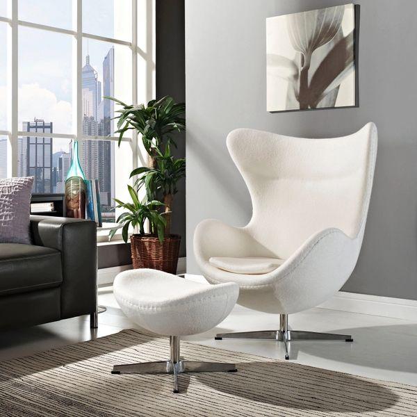 Arne Jacobsen Style Egg Chair w/ Ottoman - White