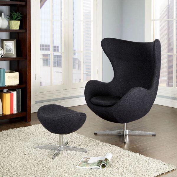 Arne Jacobsen Style Egg Chair w/ Ottoman - Dark Gray