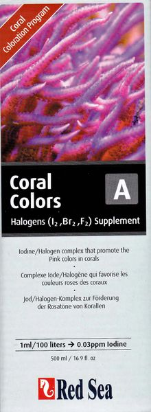 Red Sea Coral Colors A, Halogens (I2,Br2,F2) Supplement, 500ml