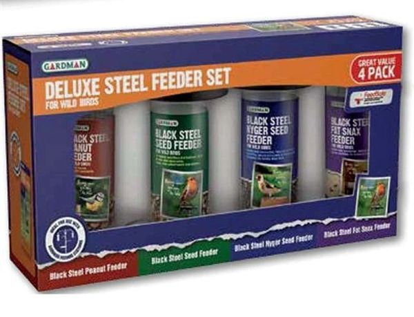 Gardman Deluxe Steel Feeder Set, 4 pack.