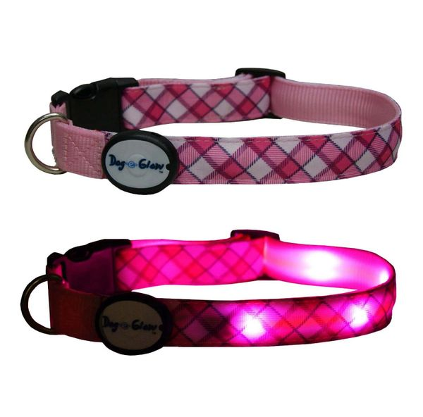Interpet Dog-e-Glow LED Dog Collar Pink Plaid Large 15-20 inch