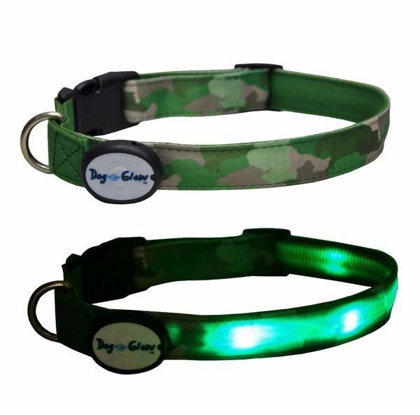 Interpet Dog-e-Glow LED Dog Collar Green Cammo Large 15-20 inch