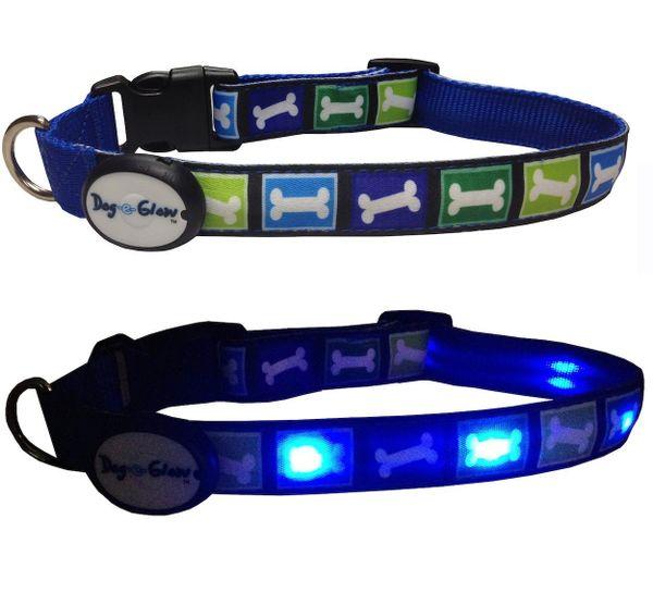 Interpet Dog-e-Glow LED Dog Collar Blue Bone Large 15-20 inch