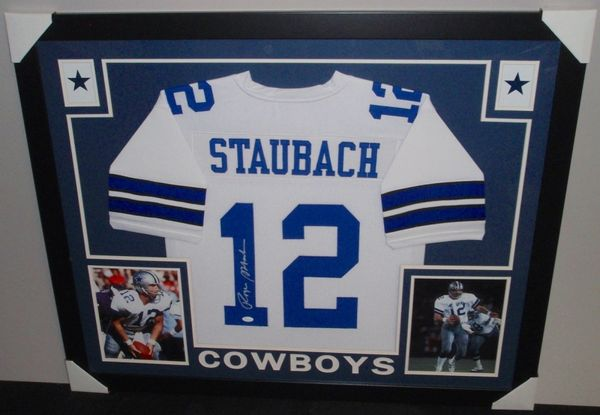 lowest price 0a630 7b3b2 Dallas Cowboys Roger Staubach Autographed Custom Framed Jersey, JSA COA