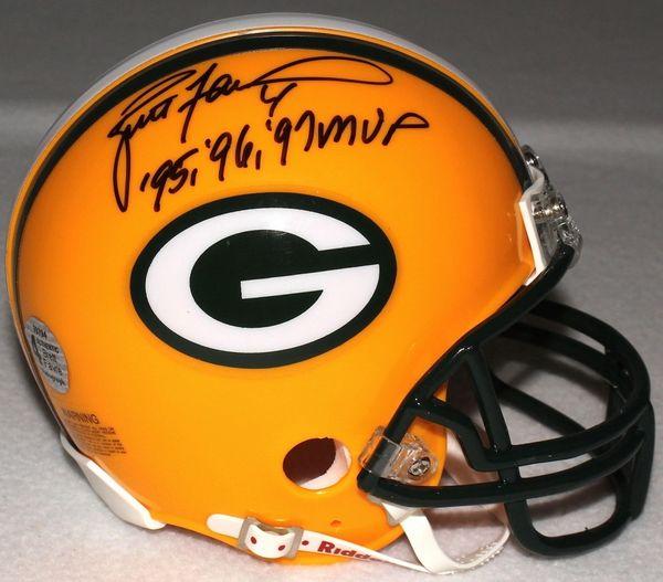 new product 54f94 1dd96 Green Bay Packers Brett Favre Autographed Mini-Helmet, inscribed