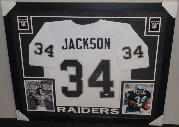 low cost c15ca e5ef3 Oakland Raiders Bo Jackson Autographed Custom Framed Jersey, JSA