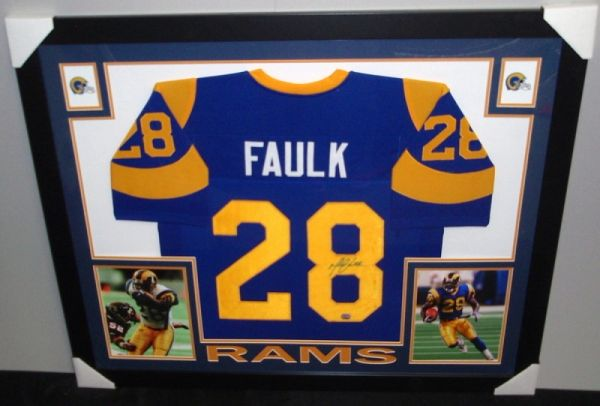 new styles 860a5 9cf35 St. Louis Rams Marshall Faulk Autographed Custom Framed Jersey, Mounted  Memories COA