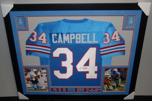 the best attitude f572e ff468 Houston Oilers Earl Campbell Autographed Custom Framed Jersey, JSA COA