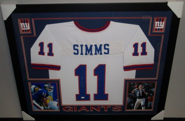 purchase cheap 5ad23 d812c New York Giants Phil Simms Autographed Custom Framed Jersey, Inscribed