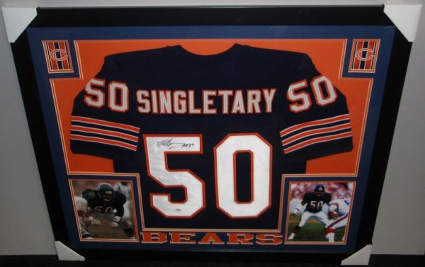 low priced 17500 90035 Chicago Bears Mike Singletary Autographed Custom Framed Jersey, inscribed