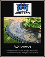 Walkways with patio stone work. Geometric & natural options; add dimension & navigation to outside.