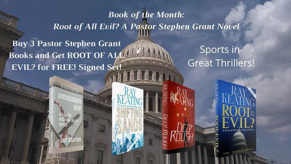 Book of the Month - Sports in Great Thrillers - Buy MURDERER'S ROW, SHIFTING SANDS, and DEEP ROUGH, and Get ROOT OF ALL EVIL? for FREE!