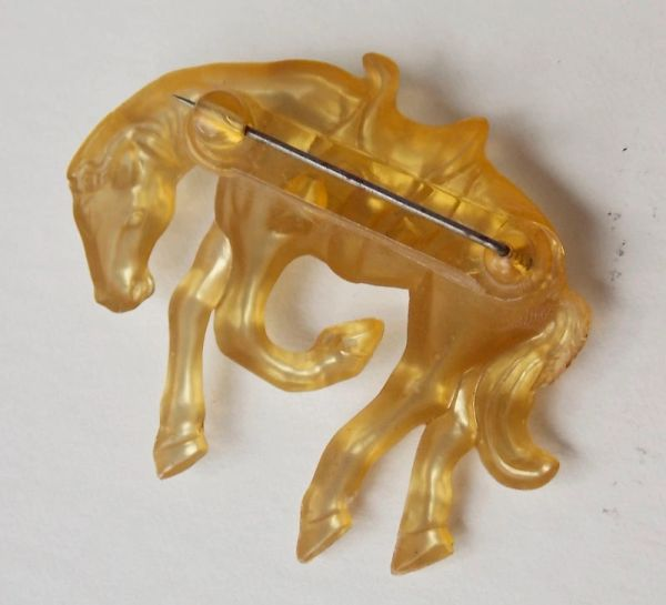 Vintage 1930 S Plastic Rodeo Bucking Bronc Horse Brooch