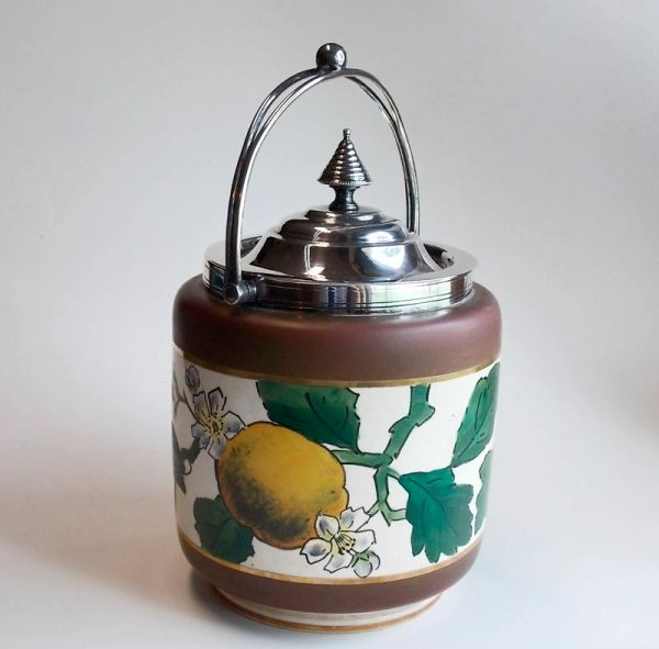 Vintage Earthenware Biscuit Barrel Jar - Handpainted Lemon Tree