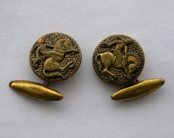 Art Nouveau Brass Bronc Rider Gold Tone Cufflinks