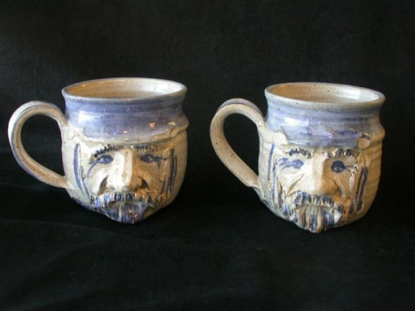 Pair of Vintage Russ Currey Clay Art Hand Thrown Sculptured Face Mugs
