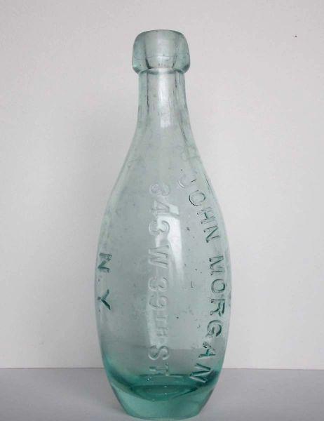 Blob Top Ten Pin Club Shaped Soda Bottle embossed JOHN MORGAN