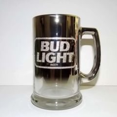 1997 Bud Light Mirrored Finish Glass Beer Tankard Mug