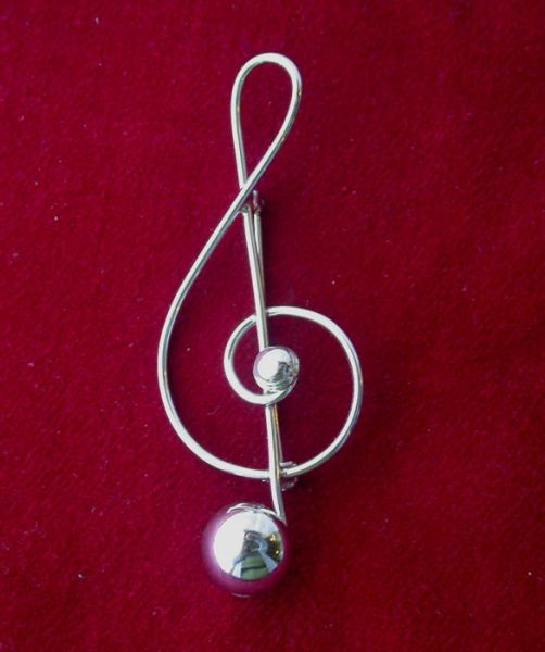 Vintage Sterling LANG Treble Clef pin/brooch for Musician or Mom