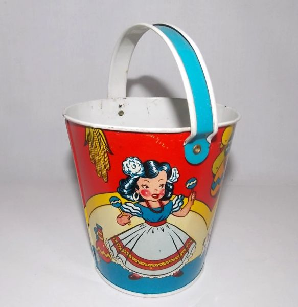 Vintage Ohio Art 1940s Beach Sand Pail Mexican Kids Music
