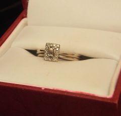 14K White Gold Emerald Cut Diamond Pave Halo Wedding Ring set