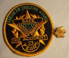 American Trucking Assns. (ATA) Safe Driving Award No Accident 23 Years Patch and Pin Set