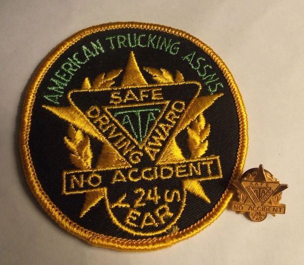 American Trucking Assns. (ATA) Safe Driving Award No Accident 24 Years Patch and Pin Set