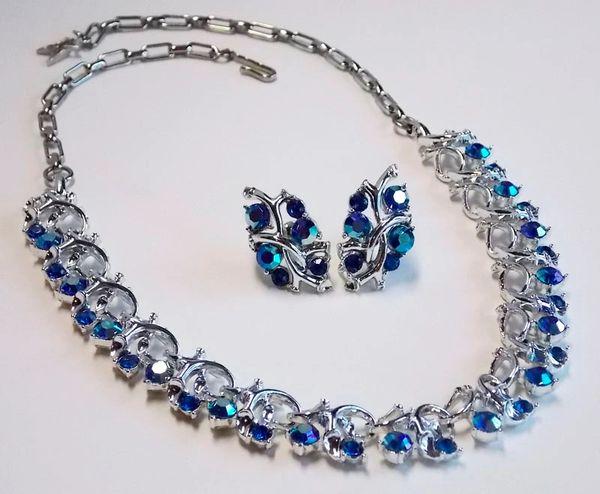 Vintage Silver-tone AB Blue Rhinestone Necklace/Earring Set - Signed STAR
