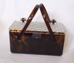 Merle Norman Mock Tortoise Shell Lucite Cosmetic Purse Bag