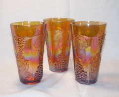3 pc. Vintage Indiana Glass Carnival Marigold Harvest Grape 14 oz Ice Tea Tumblers