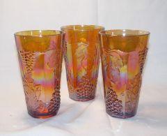 3 pc. Vintage Indiana Glass Carnival Marigold Harvest Grape 14 oz Ice Tea Tumblers